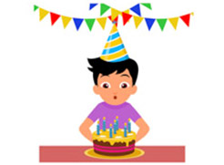 Birthday cake and person graphic